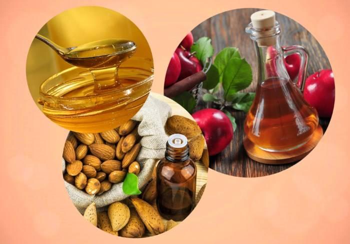 Компоненты маски для волос: яблочный уксус, мед и миндальное масло